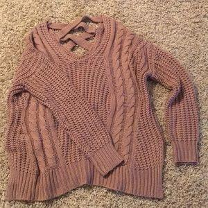 Mauve cross cross back sweater